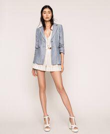 Short en lin rayé Rayé Blanc Antique / Bleu Femme 201TT2301-0T
