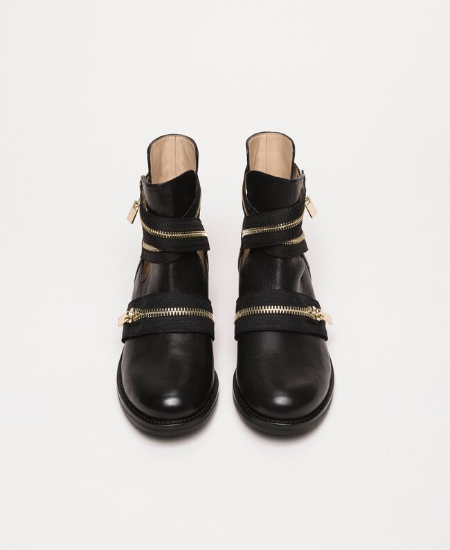 Leather biker boots with zip Black Woman 201TCP104-05