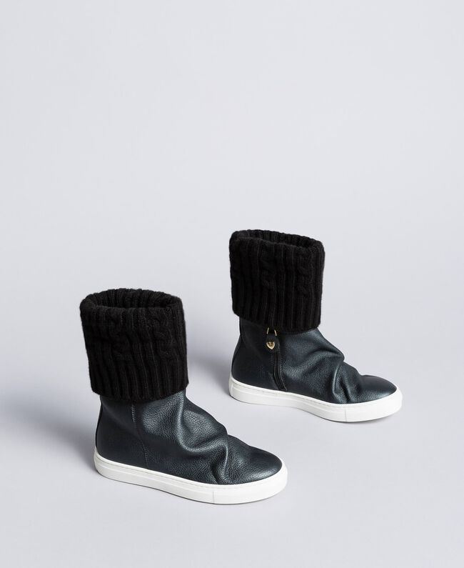 Leather and knit boot sneakers Black Child HA88B3-01