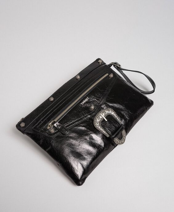 Leather pochette with decorative buckle