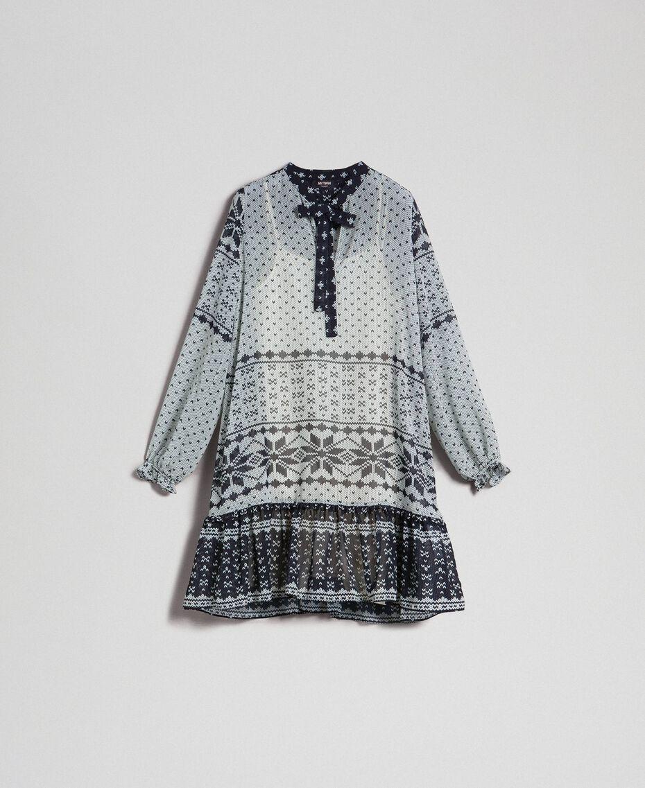 """Kleid aus bedrucktem Georgette Printmix """"Air de Neige"""" Schwarz und Vanille Frau 192MT2392-0S"""
