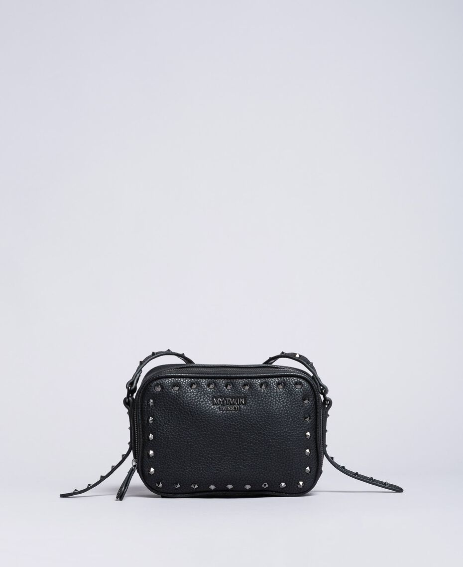 Faux leather studded shoulder bag Black Woman VA8PAE-02