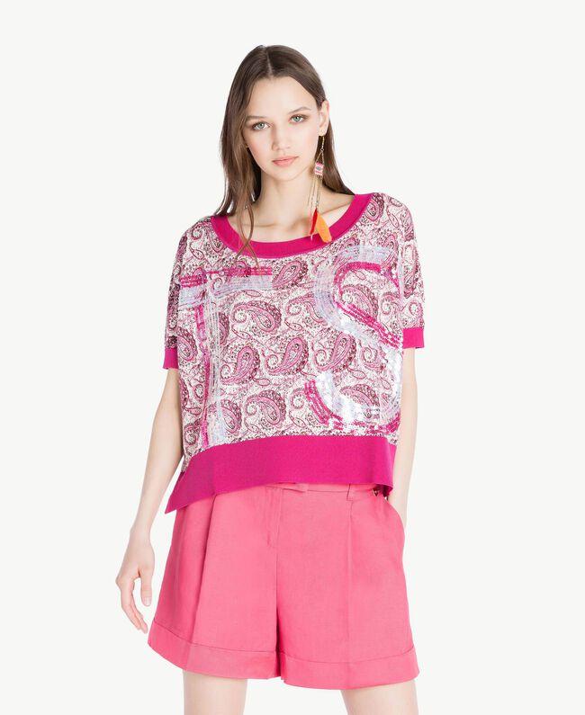 Sequin maxi jumper Pink Macro Paisley Print Woman TS83DC-01