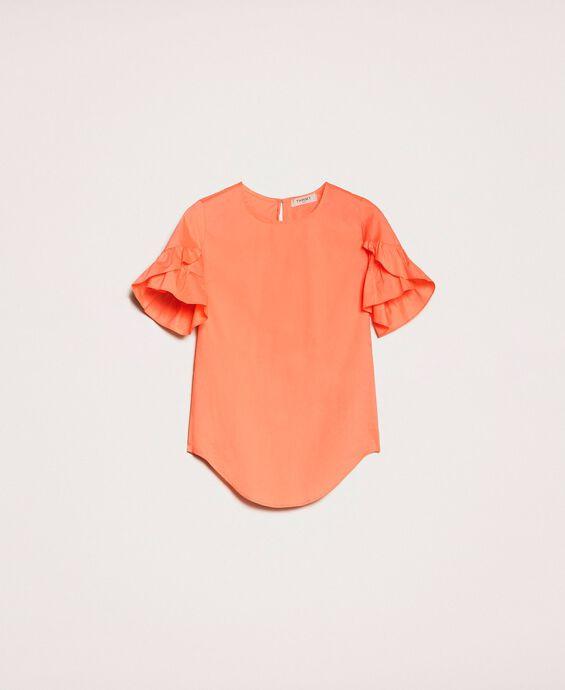 Поплиновая блуза с воланами