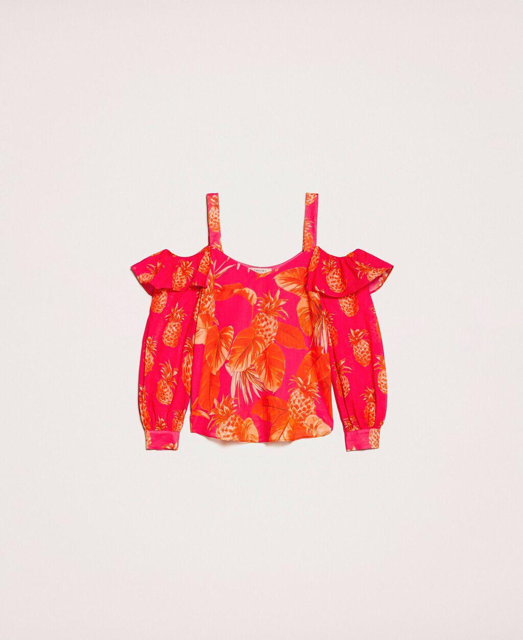 Блуза с принтом и вырезами на плечах