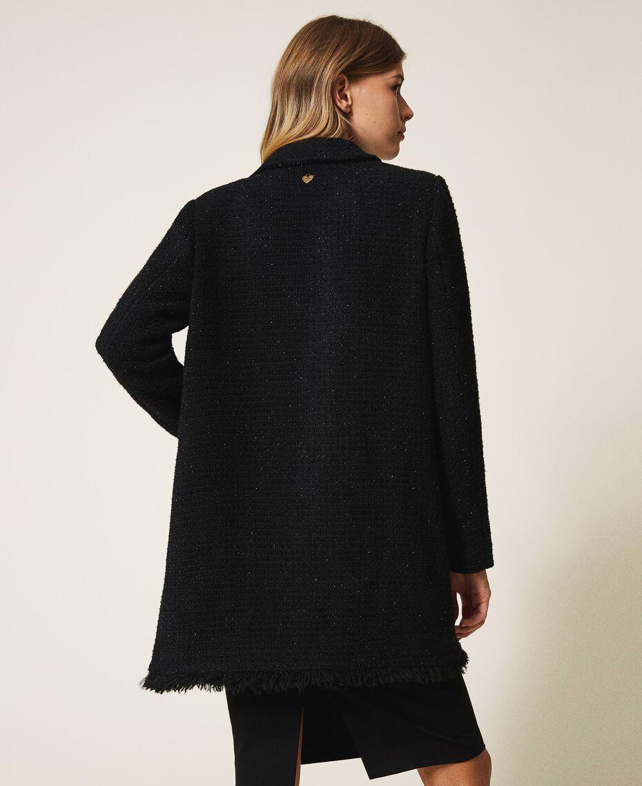 Manteau léger en laine mélangée bouclée Noir Femme 202TT217A-03