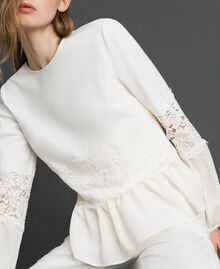 Blouse with macramé lace and flounce White Snow Woman 192TT2213-01