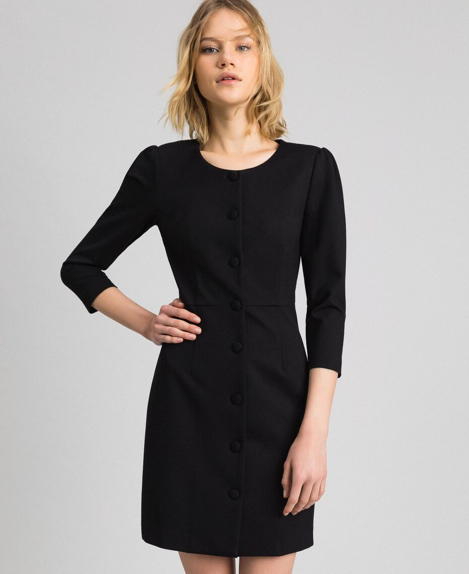Sheath dress with covered buttons Black Woman 192MP2179-01
