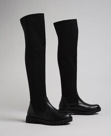 Thigh high boots in stretch fabric Black Woman 192MCT092-02