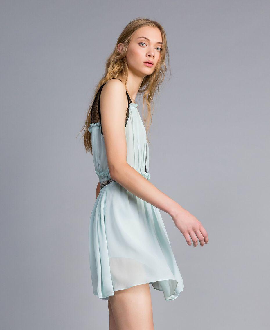 """Kleid mit floralem Print Blau """"Wasser"""" Frau QA8TNB-02"""