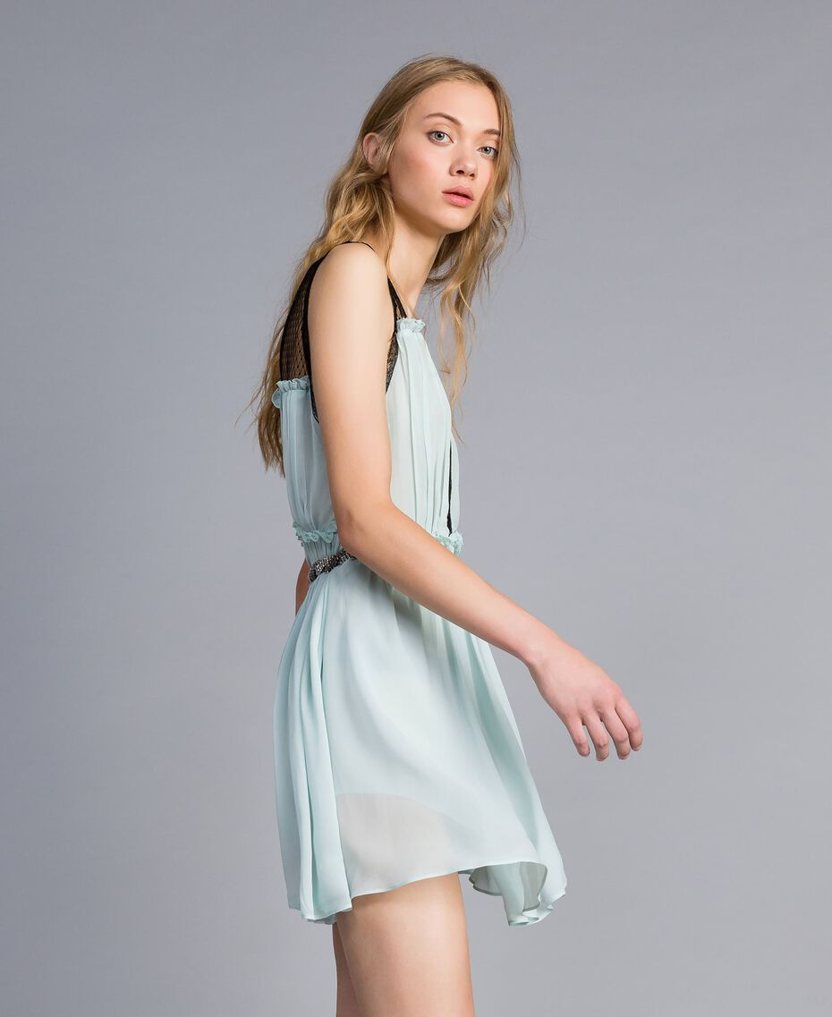 "Robe avec imprimé floral ""Aigue"" Bleu clair Femme QA8TNB-02"