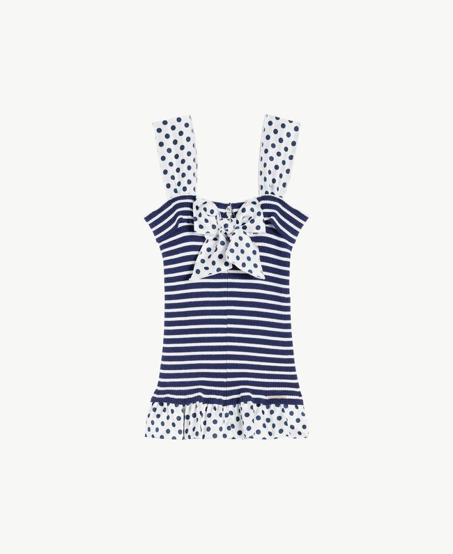 "Striped top Ocean Blue / ""Papyrus"" White Stripes / Flower Print Child GS83BB-01"