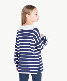 "Striped maxi pullover Ocean Blue / ""Papyrus"" White Stripes / Flower Print Child GS83BA-04"