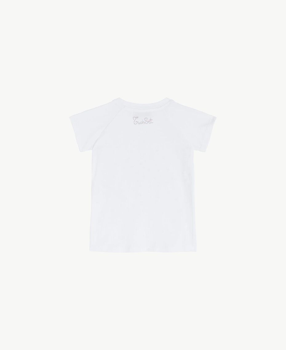 "T-shirt broderie Blanc ""Papers"" Enfant FS82G3-02"
