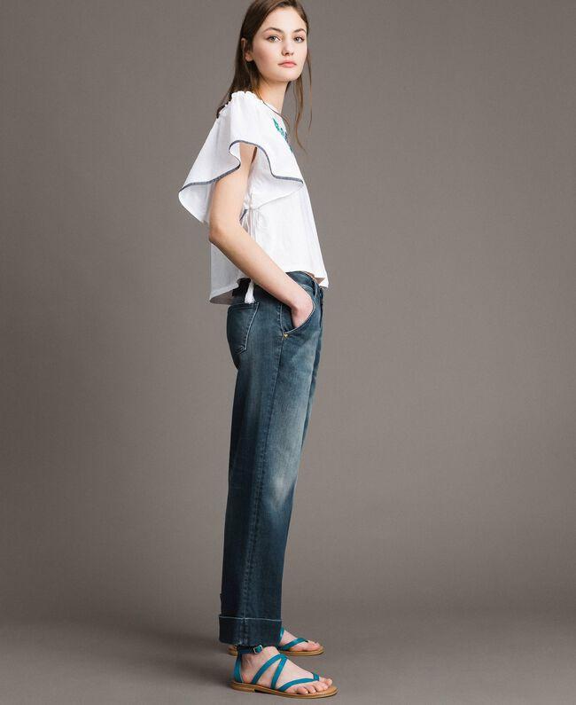 Chino-Jeans mit Fade-out-Waschung Denimblau Frau 191MP2478-03