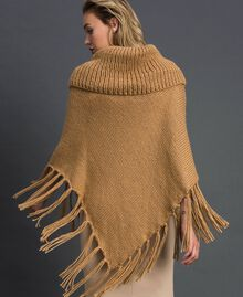 Knit poncho with fringes and bezels Camel Woman 192TO5367-03