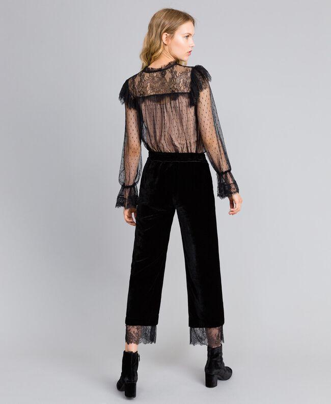 Pantalón cropped de terciopelo Negro Mujer TA826S-03