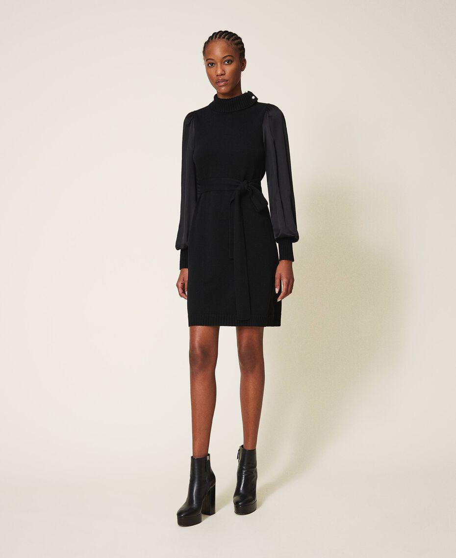 Платье из полушерсти с атласом Черный женщина 202TT3170-01