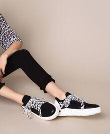 Baskets en filet avec détail animalier Bicolore Noir / Imprimé Animalier Femme 201MCP132-0S