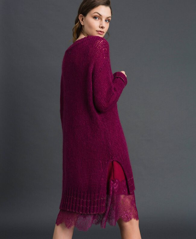 Mohair dress with lurex stripes and slip Beet Red Woman 192TP3291-03