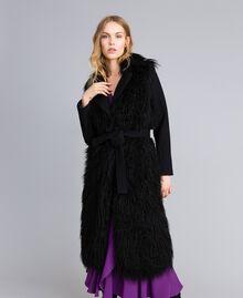 Cappotto lungo in panno e similpelliccia Nero Donna TA82A5-02