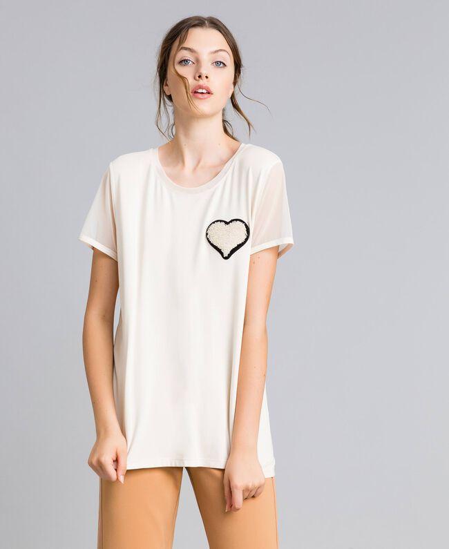 T-Shirt aus Jersey mit Stickerei Weiß Frau IA86KK-01