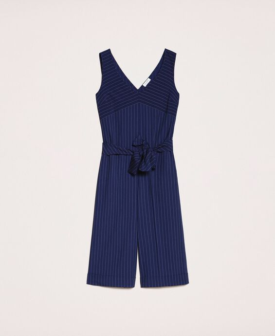 Cropped pin stripe jumpsuit with belt