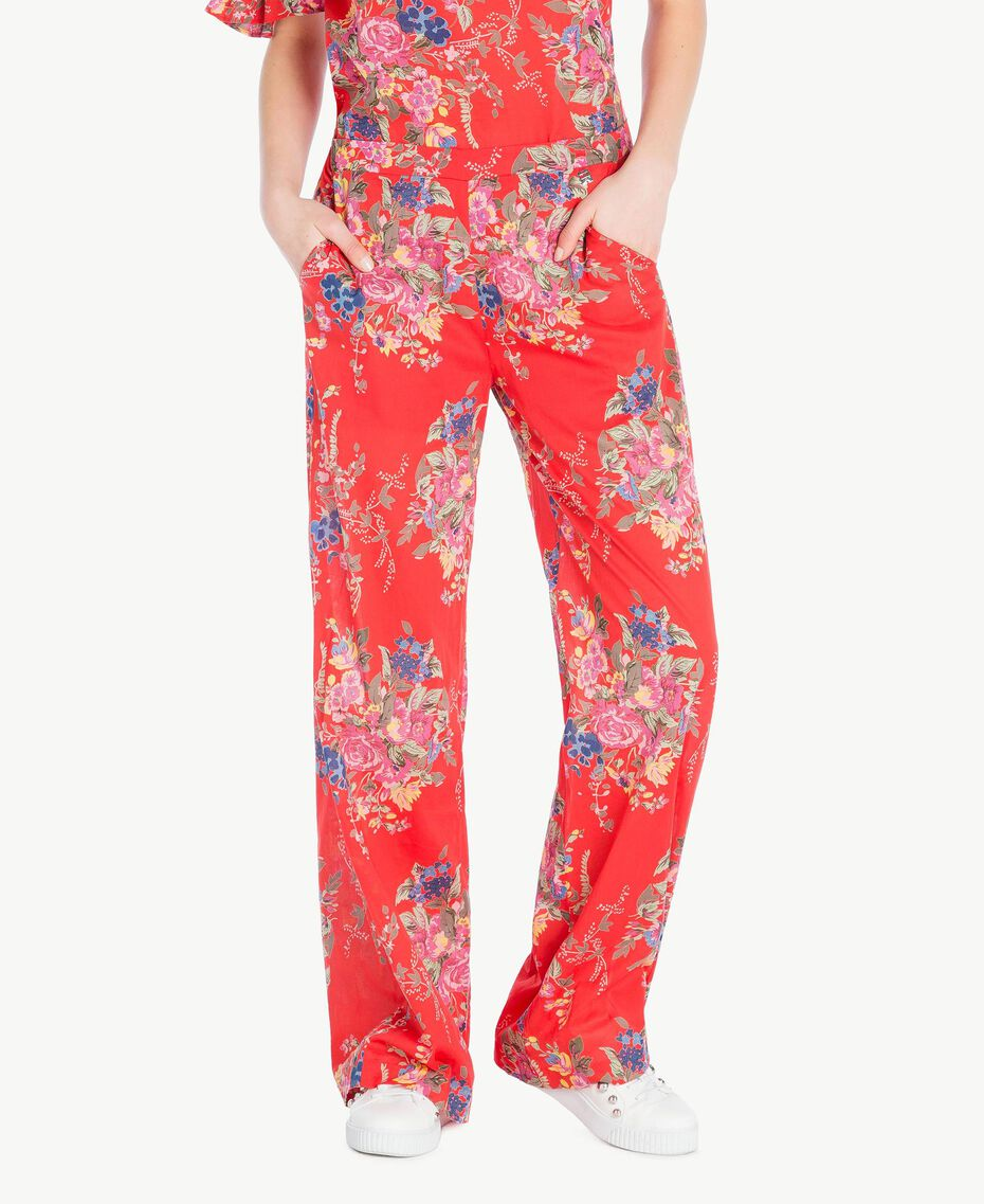 Printed trousers Red Flower Bouquet Print Woman YS82PE-01