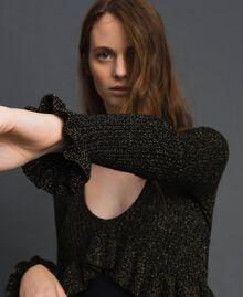 Lurex and silk blend long dress Black Lurex Woman 192TT3170-04