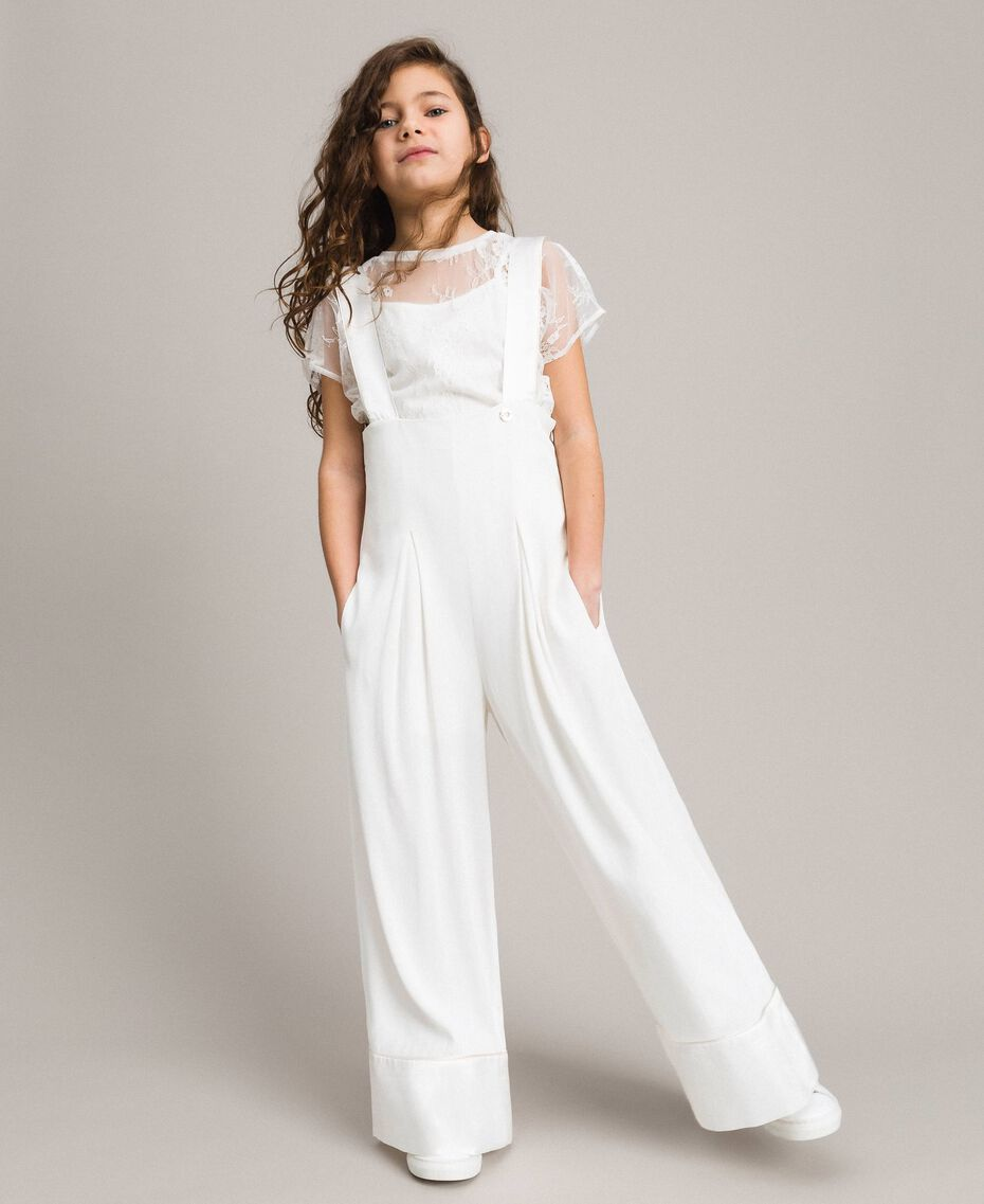 Georgette und Satin Jumpsuit Mattweiß Kind 191GJ2QJ0-02