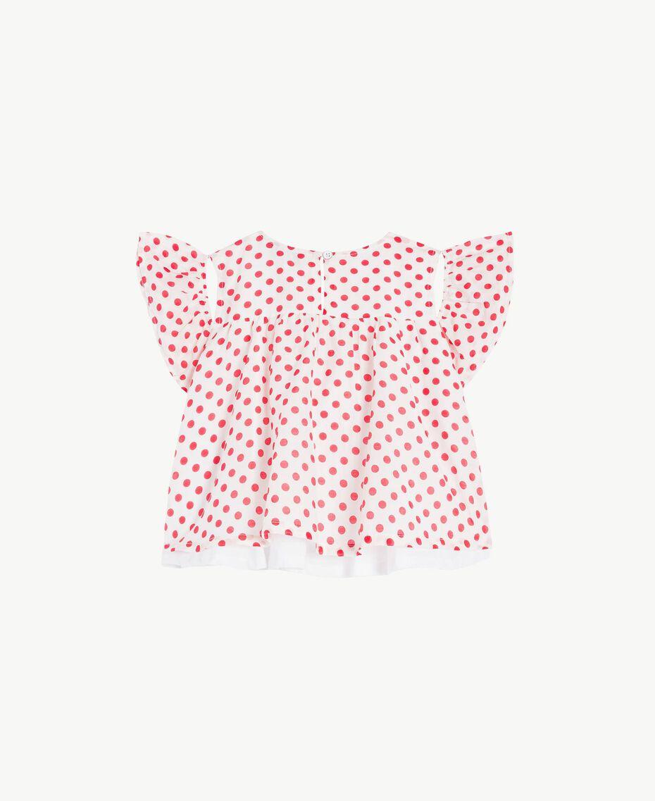 Bluse mit Tupfen Tupfenprint Papyrusweiß / Granatapfelrot Kind FS82PN-02