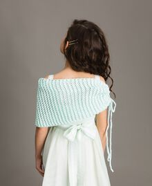 "Knitted shrug with flower Blue Clear ""Water"" Child 191GJ4QL0-03"