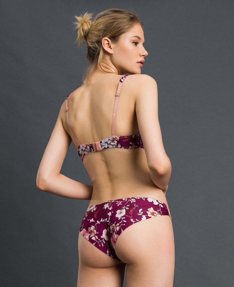 Floral Brazilian briefs with lace Purple Red Floral Print Woman 192LI6577-03