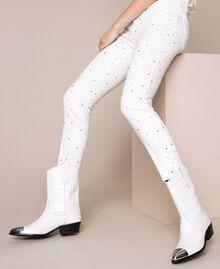 "Leather Texas boots with crocodile print ""Snow"" White Crocodile Print Woman 201TCP040-0S"