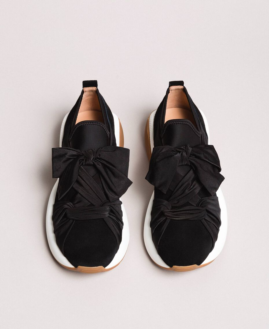 Giant bow textile trainers Black Woman 191TCP154-05