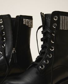 Leather combat boots with fringes Black Woman 202TCT100-02