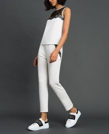 Pantaloni con tulle e pizzo Avorio Donna 192LL2CDD-02