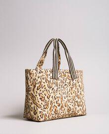 "Canvas beach bag with animal print ""Petra Sandstone"" Brown Animal Print Woman 191LM4UAA-01"