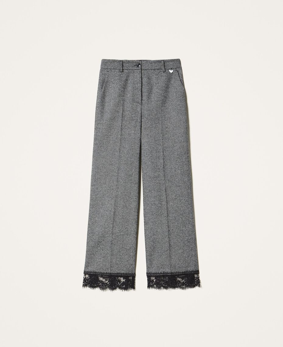"""Cropped wool trousers with lace """"Salt Pepper Snow"""" / Black Woman 202TP2382-0S"""
