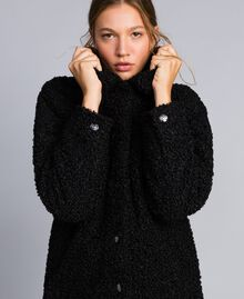Faux lamb fur peacoat Black Woman JA82KG-01