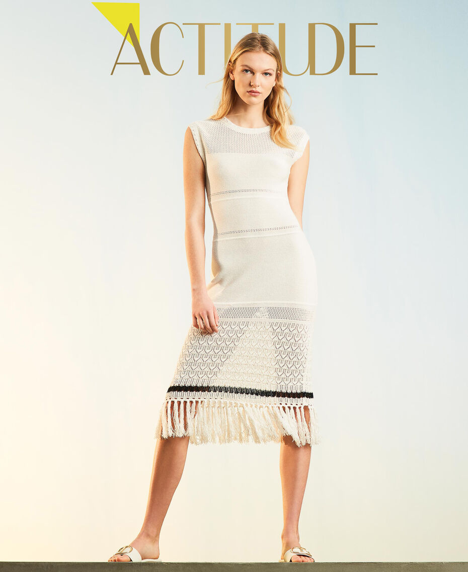 """""""Polis"""" midi dress with embroideries and fringes Vanilla / Black Woman 211MT3180-01"""