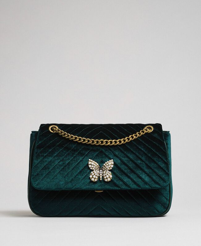 Quilted velvet shoulder bag Dark Green Woman 192TA7090-03