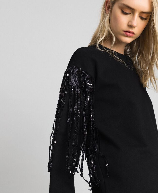 Maxi sweatshirt with sequinned fringes Black Woman 192MT2160-01