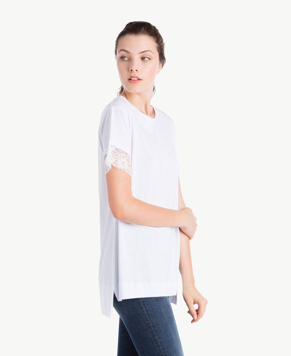 T-Shirt mit Ärmeln aus Spitze Weiß Frau NS82AN-02