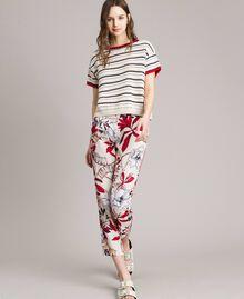 """Pullover mit Durchbruch-Streifenmuster Multicolour Ecru / """"Poppy"""" Rot / Blue Shadow Frau 191ST3092-02"""