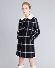 """Cappotto lungo in panno check Bicolor Quadri Nero / Bianco """"Neve"""" Donna PA826Z-01"""
