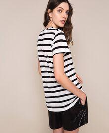Striped maxi T-shirt with embroidery Capri Stripes Woman 201LM2LUU-04