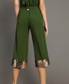 Pantalon cropped avec paillettes Vert Amazone Femme 191LM2CBB-03