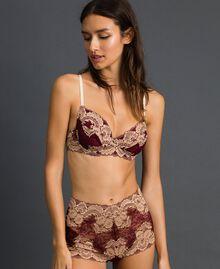 Shorty en dentelle bicolore Rouge Violet / Beige Foncé Femme 192LL6D99-01