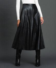 Jupe mi-longue en similicuir plissé Noir Femme 192ST2015-01